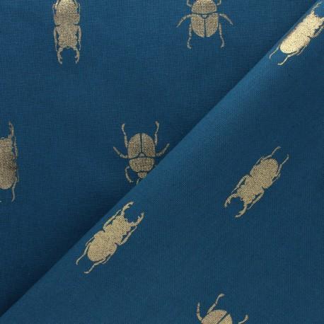 Polycotton fabric - Peacock blue Gold Beetle x 10cm