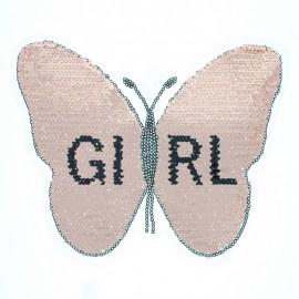 Écusson à Coudre Réversible Papillon Girl XL - Rose/Argent