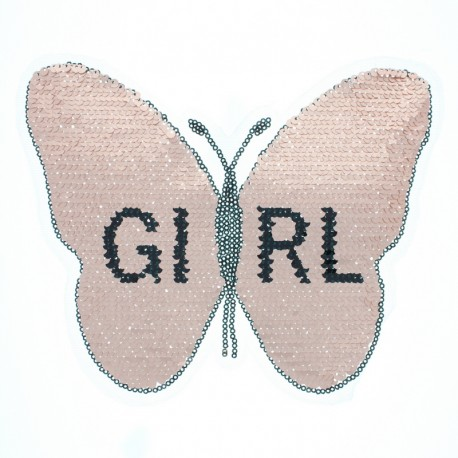 Reversible Sequin Sewing Patch - Pink/Silver Butterfly Girl XL