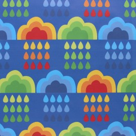 Special rain waterproof fabric - Light blue Cloudy Rainbow x 10cm