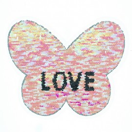 Reversible Sequin Sewing Patch - Pink/Silver Butterfly Love XL