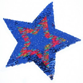 Écusson à Coudre Réversible Étoile Rainbow  XL - Bleu/Rouge