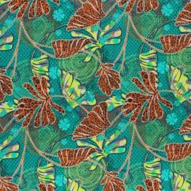 Tissu coton Zaina - vert x 10cm