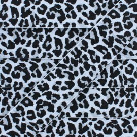 40 mm Leopard Elastic Ribbon - Light Grey x 1m