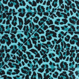 Ruban Élastique Léopard 40 mm - Turquoise x 1m