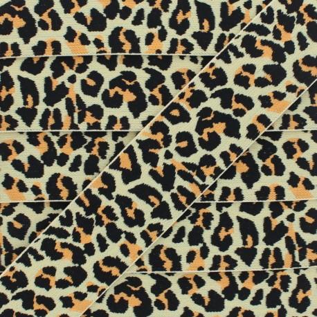 40 mm Leopard Elastic Ribbon - Pastel Yellow x 1m