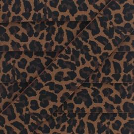 Ruban Élastique Léopard 40 mm - Chocolat x 1m