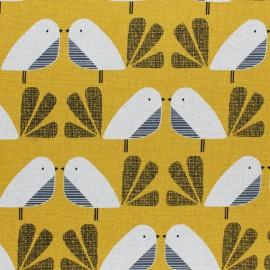 Tissu coton/lin Dashwood Nesting Birds Oiseau - jaune x 10cm