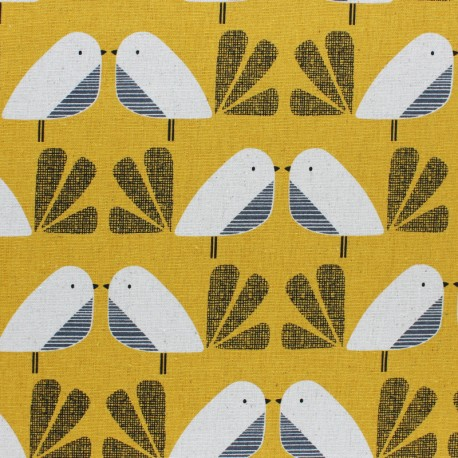 Cotton Dashwood fabric Nesting Birds - yellow Bird - 10cm
