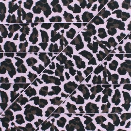 40 mm Leopard Elastic Ribbon - Pink x 1m