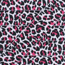 40 mm Leopard Elastic Ribbon - Fuchsia x 1m