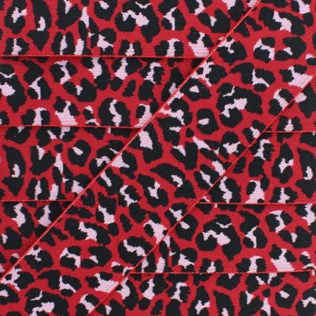 Ruban Élastique Léopard 40 mm - Rouge x 1m