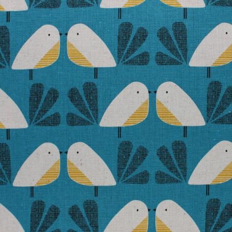 Cotton Dashwood fabric Nesting Birds - blue Bird - 10cm
