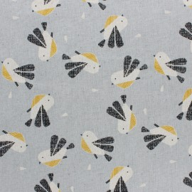 Cotton Dashwood fabric Nesting Birds - Grey Bird - 10cm