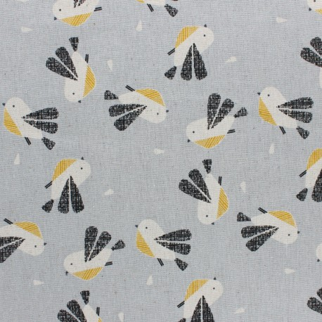 Tissu coton/lin Dashwood Nesting Birds Oiseau - bleu x 10cm