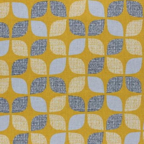 Cotton Dashwood fabric Nesting Birds - yellow Leaf - 10cm