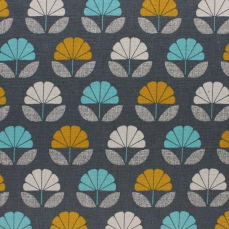 Cotton Dashwood fabric Nesting Birds - grey Flower - 10cm