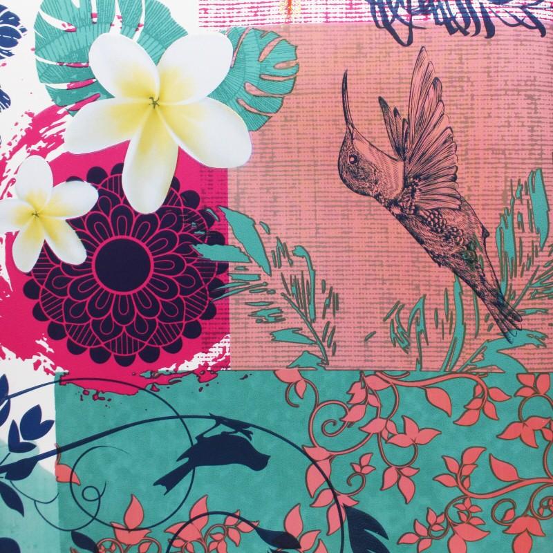 tissu toile ciree bulgomme colibri  fleur rose mpm
