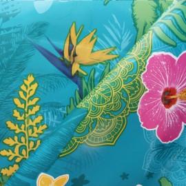 Tissu toile cirée Bulgomme Hibiscus - bleu x 10cm