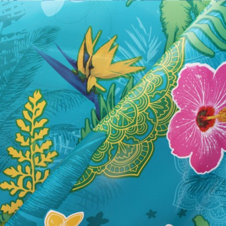 Tissu toile cirée Bulgomme Colibri - multi x 10cm