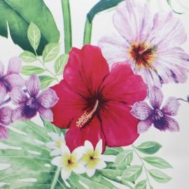 Tissu toile cirée Bulgomme Jungle - blanc x 10cm