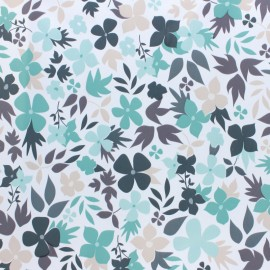 Oilcloth fabric - white Printemps  x 10cm