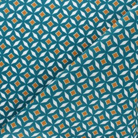 Matte coated Polycotton fabric - Green Theodora x 10cm