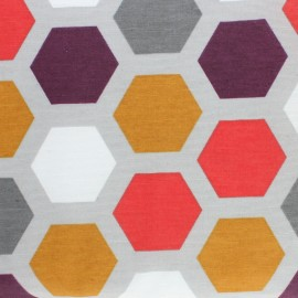 Matte coated Polycotton fabric - Grey Honeycomb x 10cm