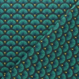 Cretonne cotton fabric - green Doucet x 10cm