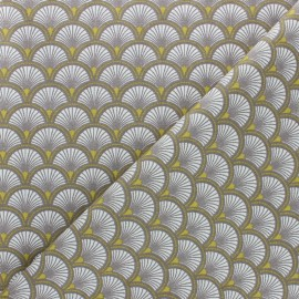 Cretonne cotton fabric - Yellow Doucet x 10cm