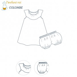 Dress Sewing Pattern - Colombe L'Enfant Roi from 3 months to 3 yo