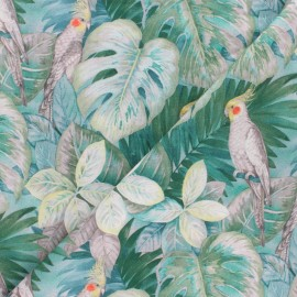 Cotton fabric - Green Cockatoo x 10cm
