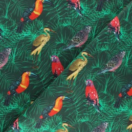 Tissu coton Cacatoès - vert x 10cm
