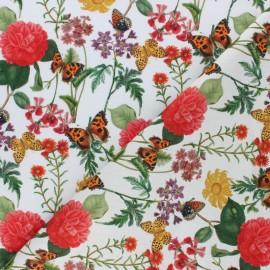 Cotton fabric - Raw Mariposa y flores x 10cm