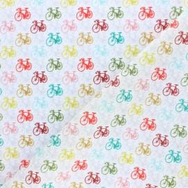 Tissu coton Balade à vélo - écru x 10cm