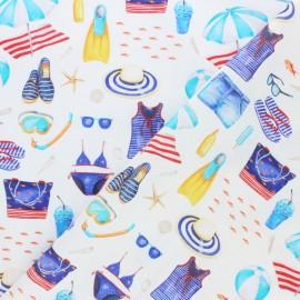 Tissu coton C'est l'été - écru x 10cm