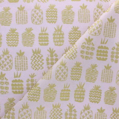 Cotton Dashwood fabric - Pink Gold Pineapple x 10cm