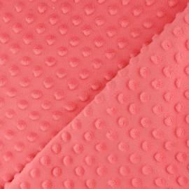 Tissu Velours minkee doux relief à pois Oeko-tex - corail clair x 10cm