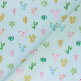 Cotton Dashwood fabric - blue Gold Cactus x 10cm