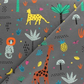Cotton Jersey fabric - Grey Safari x 10cm