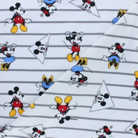 Tissu jersey Laughing Mickey - blanc x 10cm