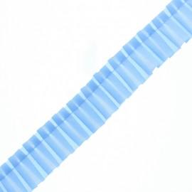Galon Plissé Polyester Aura - Bleu Ciel x 1m
