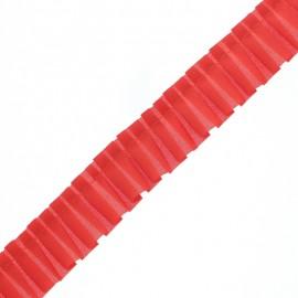 Galon Plissé Polyester Aura - Rouge Fraise x 1m