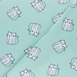 Cotton jersey fabric - green P'tit Chat x 10cm