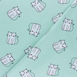 Tissu jersey P'tit Chat - bleu x 10cm