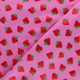 Cotton jersey fabric - pink Pétillante Fraise x 10cm