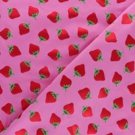 Tissu jersey Pétillante Fraise - rose x 10cm