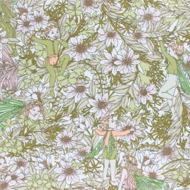Cotton jersey fabric - green Fairy of Nature x 10cm