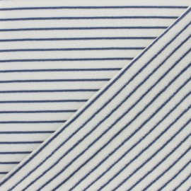 Jersey terry cloth fabric - Blue Stripes x 10cm
