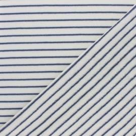 Tissu éponge jersey rayé - bleu marine x 10cm